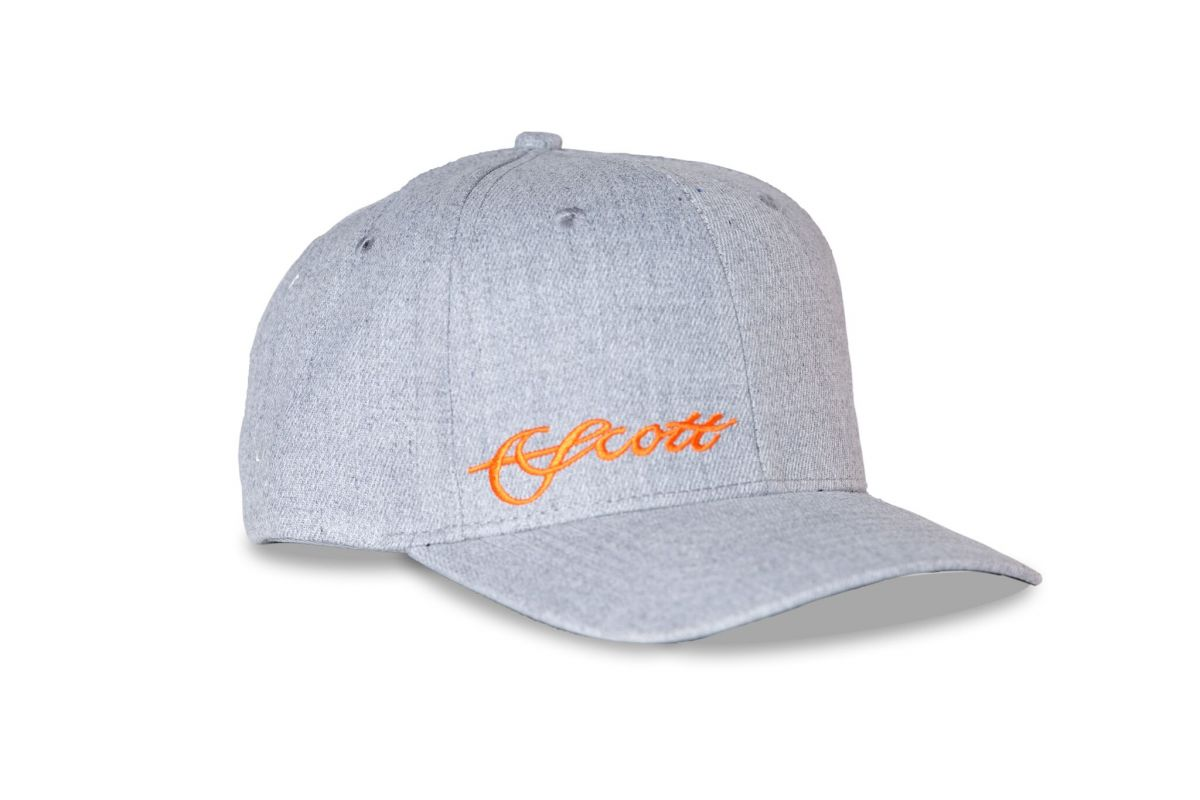 SCOTT HEATHER GREY HAT WITH ORANGE LOGO