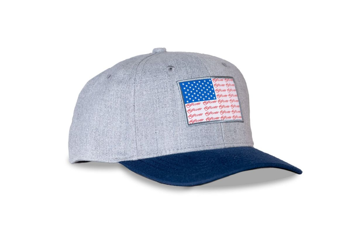 SCOTT HEATHER GREY & NAVY HAT AMERICAN FLAG PATCH